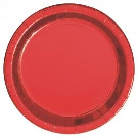 Pratos Vermelhos Metalizados 23cm – 8 Und