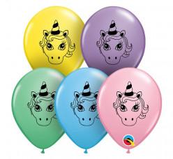 "Saco 100 Balões Unicórnio Cores Sortidas 5"" (13cm)"