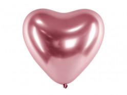 Saco 50 Balões Latex Coração Rose Gold Glossy 12