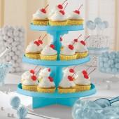 Stand 3 andares Cupcakes 29cm - Azul Turquesa