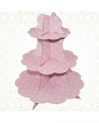 Stand 3 andares Cupcakes Rosa com Bolinhas
