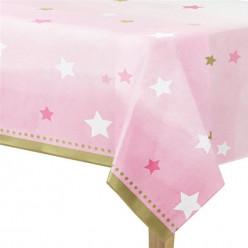 Toalha Plástica de Festa Primeiro Aniversário Rosa
