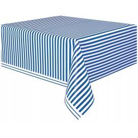 Toalha plástica festa Riscas Azul e Branco