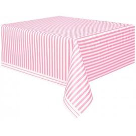 Toalha plástica festa Riscas Rosa e Branco
