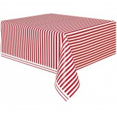 Toalha plástica festa Riscas Vermelhas e Brancas