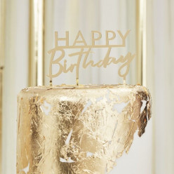 Topper Bolo Acrílico Happy Birthday Dourado