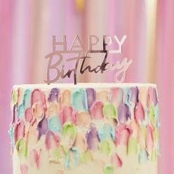 Topper Bolo Acrílico Happy Birthday Rosa