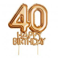Topper Bolo Dourado Happy Birthday 40 anos