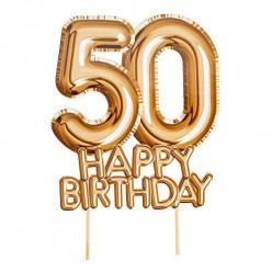Topper Bolo Dourado Happy Birthday 50 anos