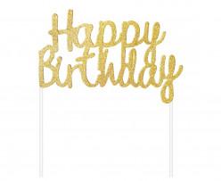 Topper Bolo Happy Birthday Dourado Glitter
