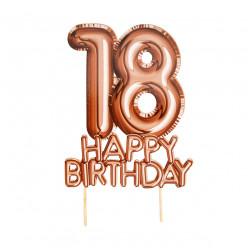 Topper Bolo Rosa Dourado Happy Birthday 18 anos