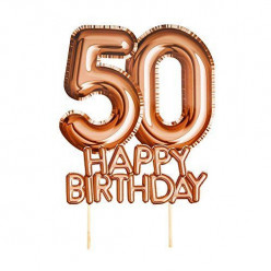 Topper Bolo Rosa Dourado Happy Birthday 50 anos