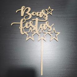 Topper de Bolo Boas Festas Estrelas MDF