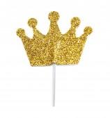 Toppers Coroa Princesa dourada com glitter