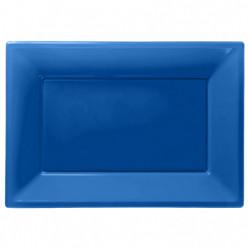 Travessas Plásticas Azuis 3 unid