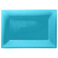 Travessas Plásticas Azul Caribe 3 unid