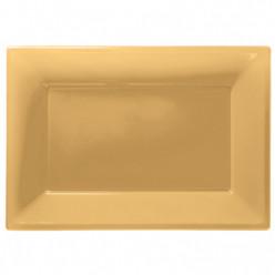 Travessas Plásticas Dourada 3 unid