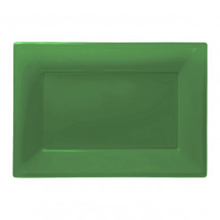 Travessas Plásticas Verdes 3 unid