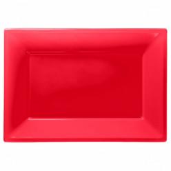Travessas Plásticas Vermelho 3 unid