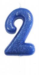 Vela Aniversário Azul Glitter Nº 2