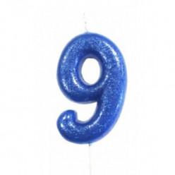 Vela Aniversário Azul Glitter Nº 9