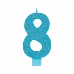 Vela Aniversário Azul Turquesa com Glitter Nº8 13cm