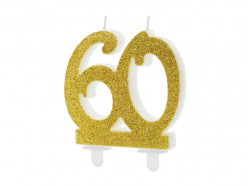 Vela Aniversário Dourado Glitter Nº60