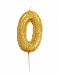 Vela Aniversário Gold Glitter Nº 0