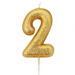 Vela Aniversário Gold Glitter Nº 2