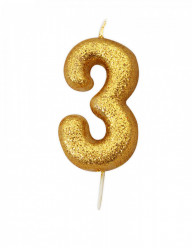 Vela Aniversário Gold Glitter Nº 3