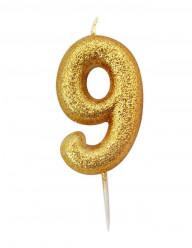 Vela Aniversário Gold Glitter Nº 9