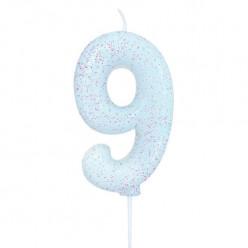 Vela Aniversário Iridescente Glitter Nº 9