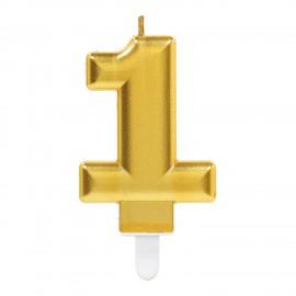 Vela Aniversário Nº 1 Dourado Metálico
