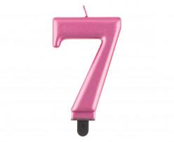 Vela Aniversário Nº7 Rosa Metalizado