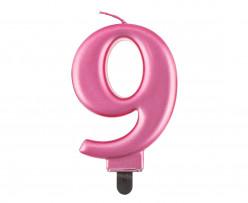 Vela Aniversário Nº9 Rosa Metalizado