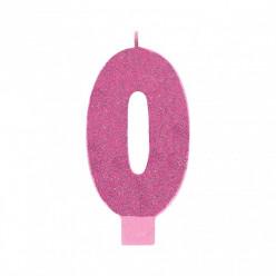 Vela Aniversário Rosa com Glitter Nº0 13cm