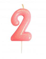 Vela Aniversário Rosa Glitter Nº 2