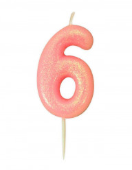 Vela Aniversário Rosa Glitter Nº 6