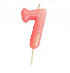 Vela Aniversário Rosa Glitter Nº 7