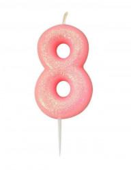 Vela Aniversário Rosa Glitter Nº 8