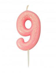 Vela Aniversário Rosa Glitter Nº 9