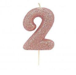 Vela Aniversário Rose Gold Glitter Nº 2