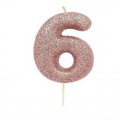 Vela Aniversário Rose Gold Glitter Nº 6
