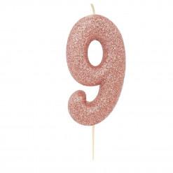 Vela Aniversário Rose Gold Glitter Nº 9