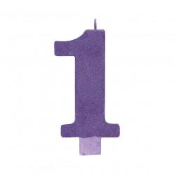 Vela Aniversário Roxo com Glitter Nº1 13cm