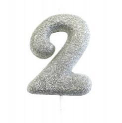 Vela Aniversário Silver Glitter Nº 2