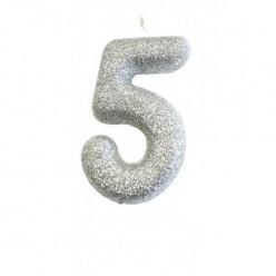 Vela Aniversário Silver Glitter Nº 5