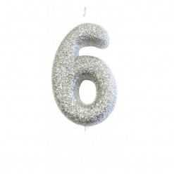 Vela Aniversário Silver Glitter Nº 6