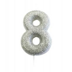 Vela Aniversário Silver Glitter Nº 8