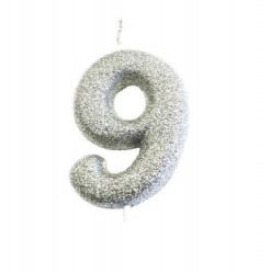 Vela Aniversário Silver Glitter Nº 9